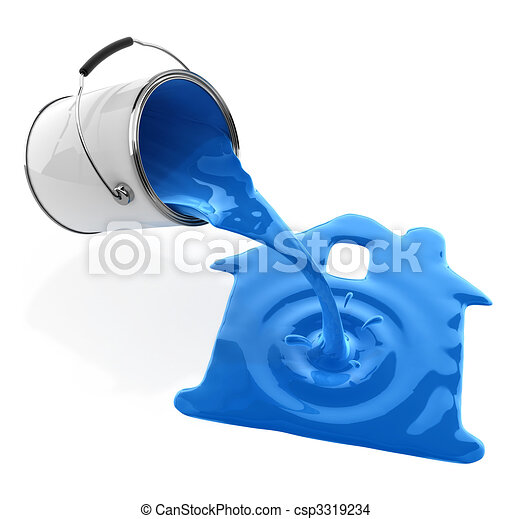 blue paint pouring from bucket in house silhouette - csp3319234