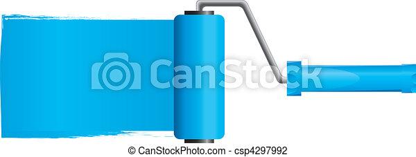 Blue paint roller brush with blue paint, Part 2, vector illustration - csp4297992