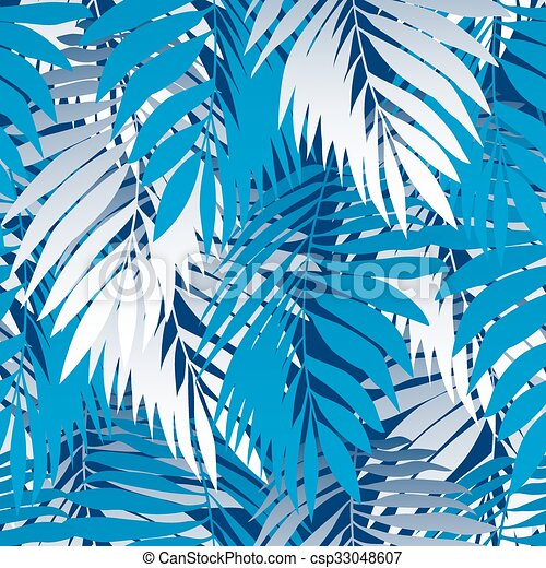 Blue palm leaves in a seamless pattern - csp33048607