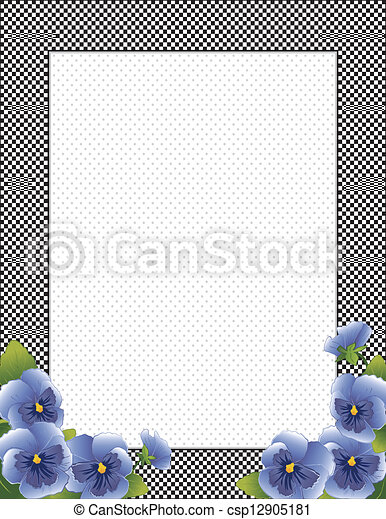 Blue Pansy Flowers Check Frame - csp12905181