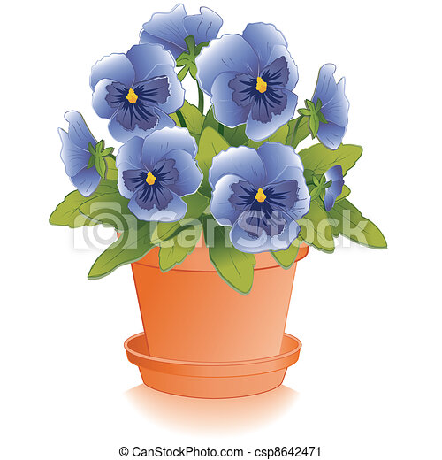 Blue Pansy Flowers, Clay Flowerpot - csp8642471