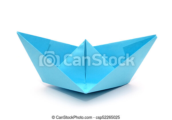 Blue Paper Boat Origami Boat Isolated Blue Paper Boat Origami