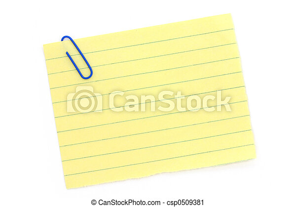 blue paper clip with yellow notepaper - csp0509381