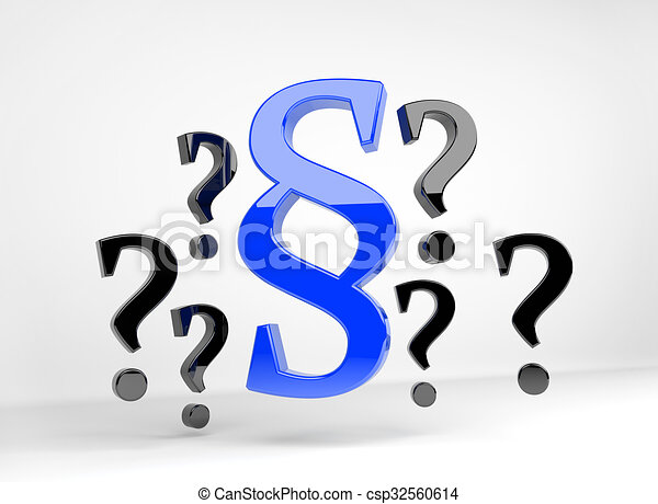 Blue paragraph surrounded by question marks - csp32560614