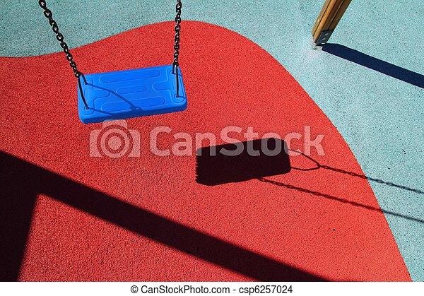 blue park swing or red floor children playground - csp6257024