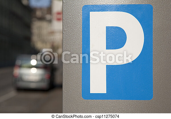 Blue Parking Sign in Urban Setting - csp11275074