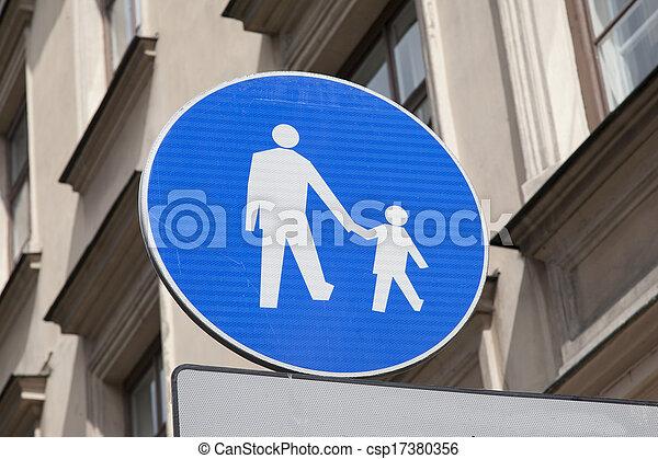 Blue Pedestrian Sign - csp17380356