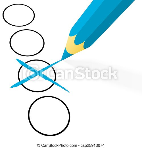 blue pencil with cross - csp25913074
