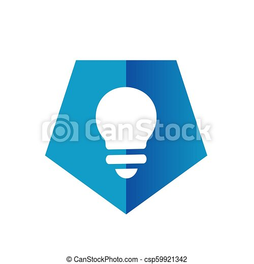 Blue Pentagon Light Bulb Icon or Logo - csp59921342