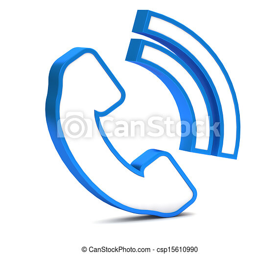 Blue phone button icon on a white background - csp15610990