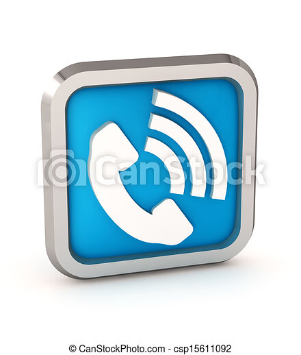 Blue phone button icon on a white background - csp15611092