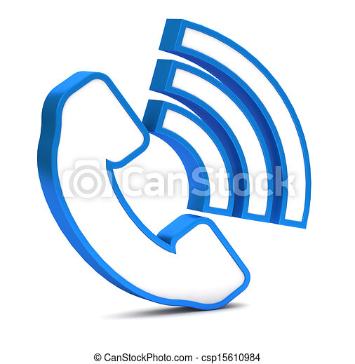 Blue phone button icon on a white background - csp15610984