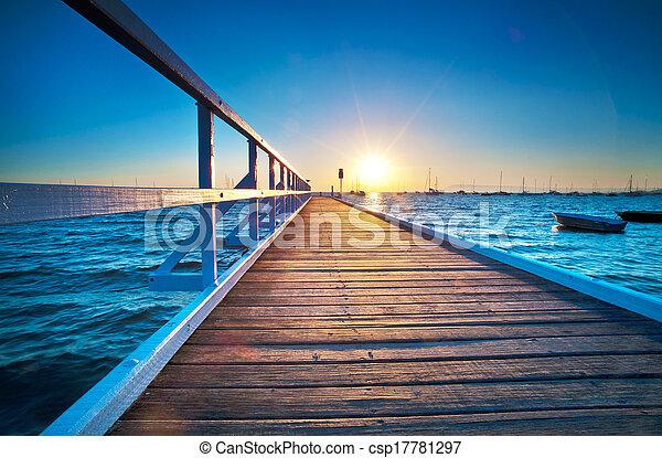 Blue Pier Sunrise - csp17781297