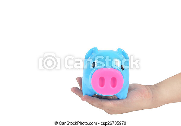 Blue piggy bank in man hand isolated on white background, clippi - csp26705970