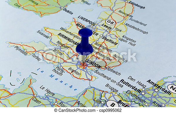 Blue Pin Pointing On London In Map Blue Pin Pointing On London In