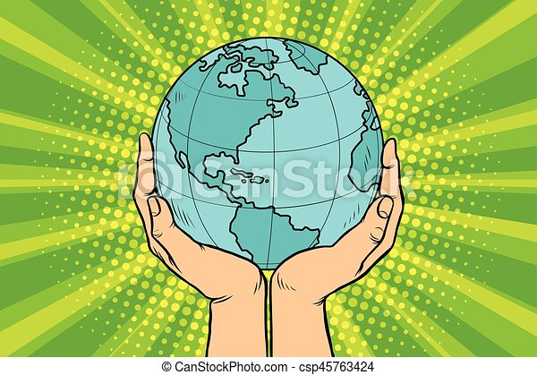 Blue planet Earth in human hands - csp45763424