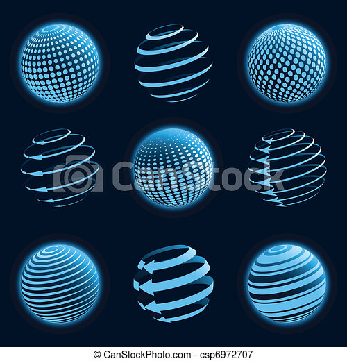 Blue planet icons. - csp6972707