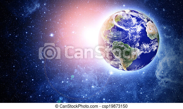 blue planet in beautiful space - csp19873150