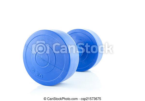 Blue plastic dumbbell on white background - csp21573675