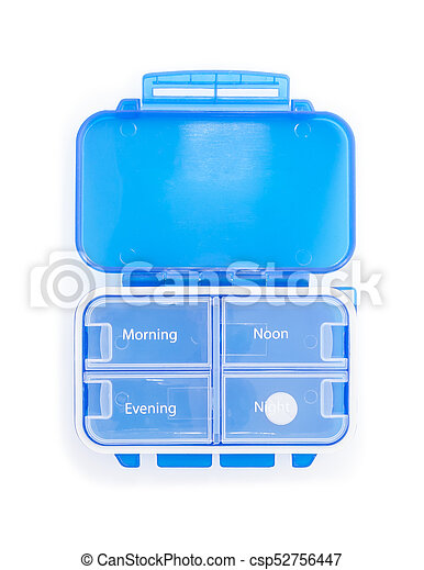 Blue plastic pill organizer Isolated on white background. - csp52756447