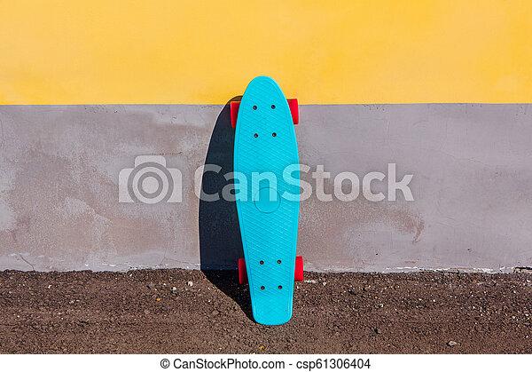Super Blue plastic skateboard penny board with pink wheels. Blue plastic FC-24