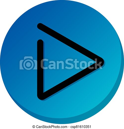 Blue play button sign. Play video icon, illustration - csp81610351