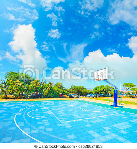 blue playground under clouds - csp28824953
