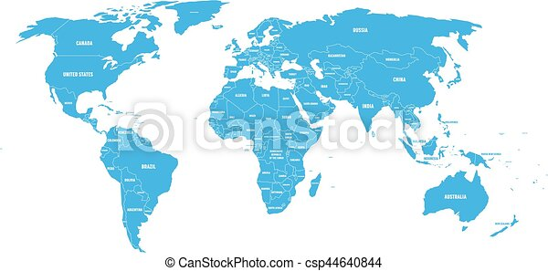 Blue political world map with country borders and white eps blue political world map with country borders and white state name labels hand drawn simplified gumiabroncs Images