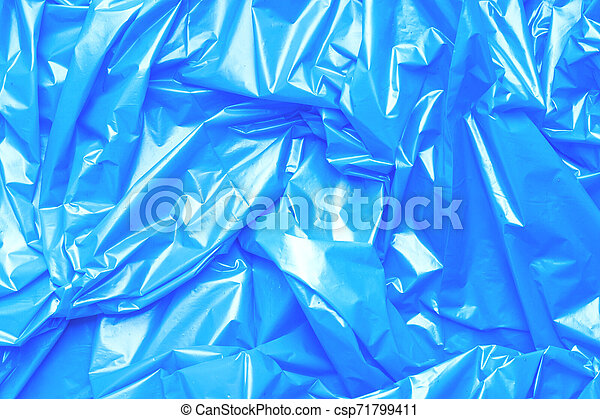Blue polyethylene texture. Background exhaust cellophane package. - csp71799411