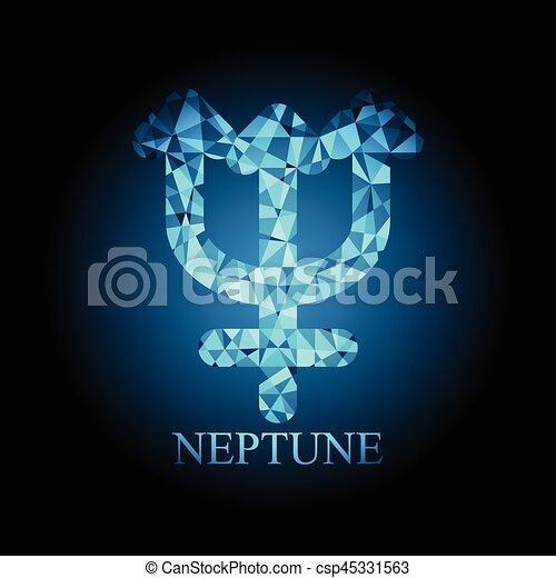 Blue Polygonal Neptune Icon Astronomy Sign Symbol Vector