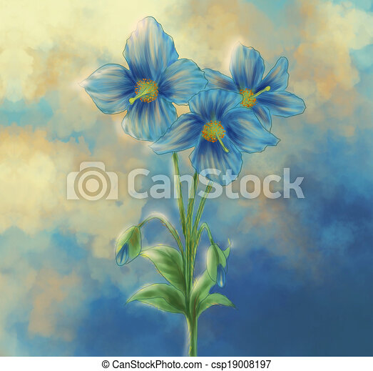 Blue poppy painting digital painting depicted the famous stock blue poppy painting csp19008197 mightylinksfo