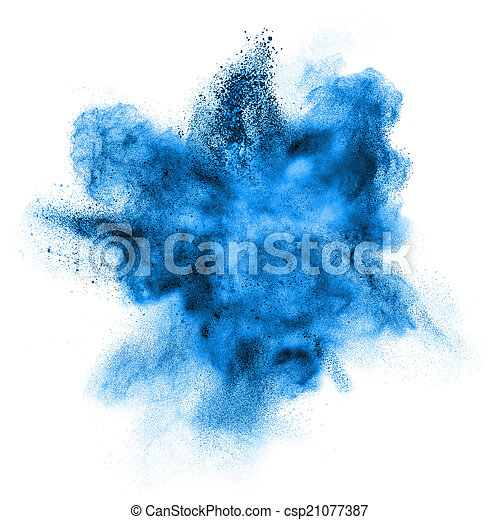 blue powder explosion isolated on white - csp21077387