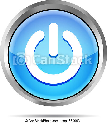blue power button icon on a white - csp15609931