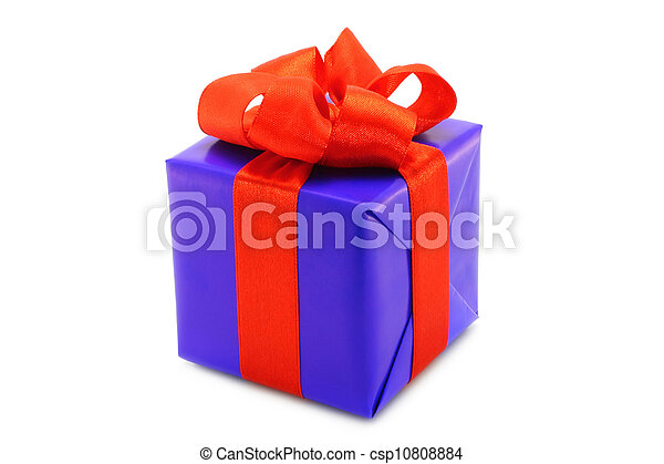 Blue present box with red bow on a white background - csp10808884