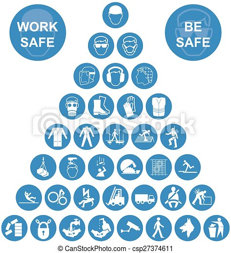 Blue Pyramid Health and Safety Icon - csp27374611