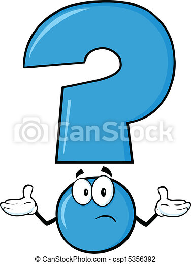 blue question mark cartoon character with a confused expression rh canstockphoto com question mark cartoon pic question mark cartoon vector