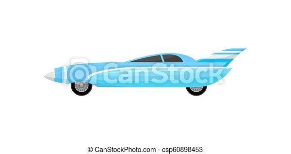 Blue racing car with silver stripes. Vintage sports automobile. Vehicle with tinted windows and spoiler. Flat vector design - csp60898453