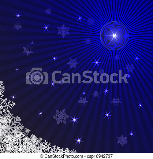 Blue rays Christmas background with snowflakes. - csp16942737