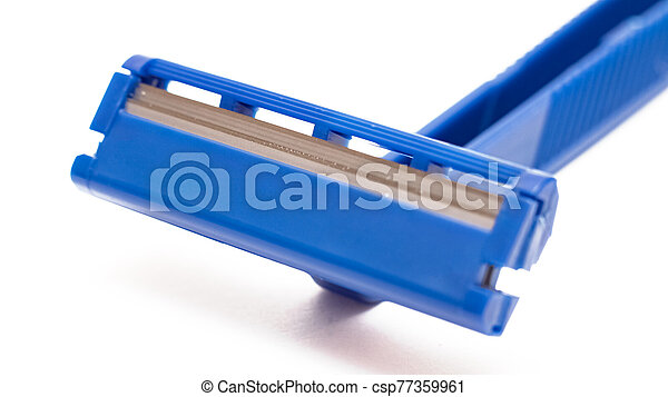 Blue razor blade isolated on a white background - csp77359961