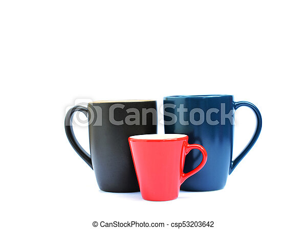 Blue, red and brown color of Tree cups on white backgrounds - csp53203642