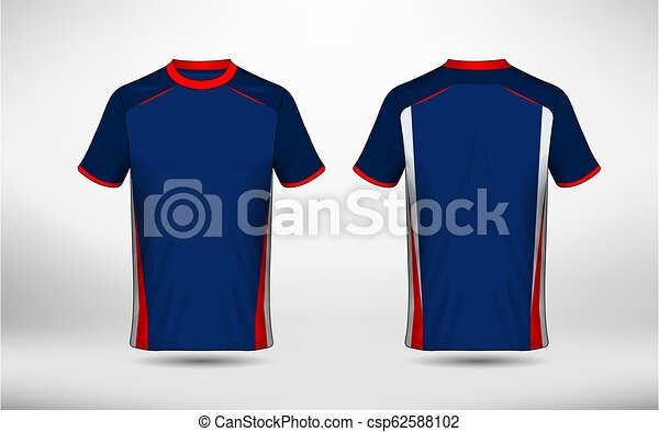 ac2596128 Blue, red and white layout e-sport t-shirt design template.