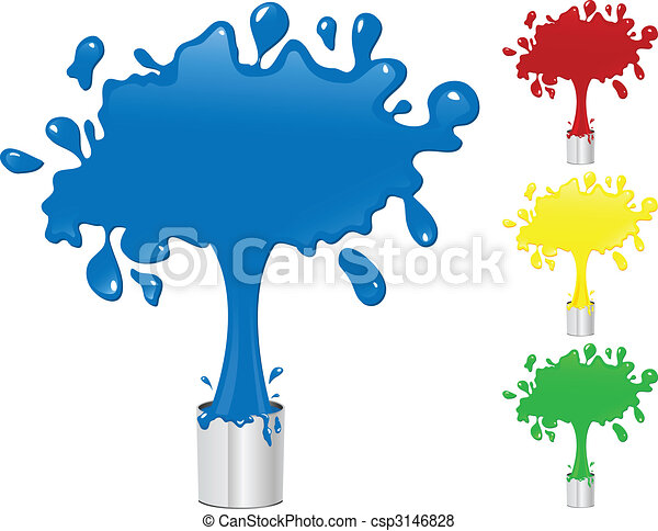 Blue, Red, Yellow and Green Paint Splash Buckets.  - csp3146828