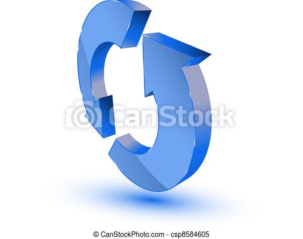 Blue refresh-recycling symbol - csp8584605