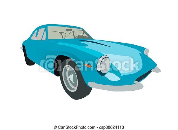 Blue retro sport car. Vector illustration - csp38824113