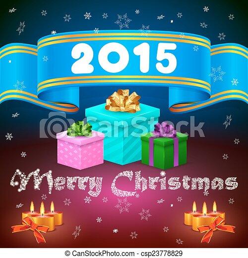 Blue ribbon 2015 and Christmas gifts - csp23778829