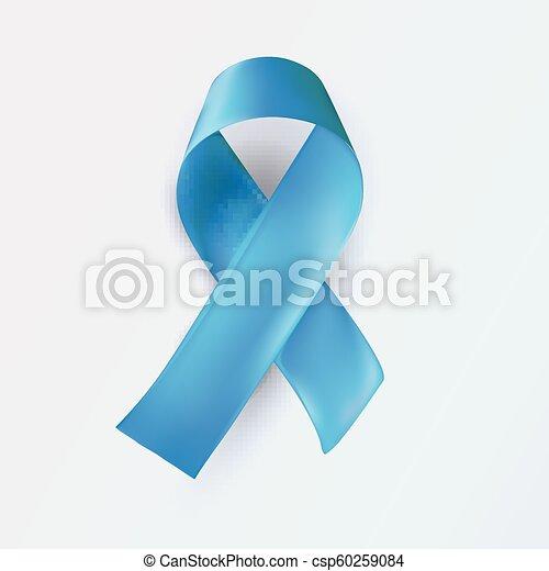Blue ribbon, abstract medical symbol. World illness awareness day symbol. Realistic blue ribbon on white background, vector illustration - csp60259084