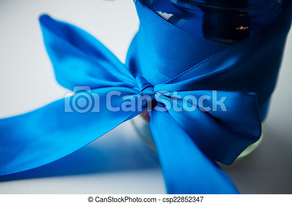 blue ribbon gift wrap - csp22852347
