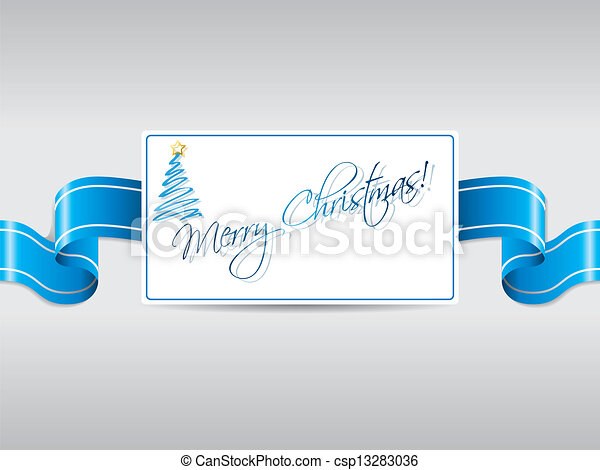 Blue ribbon with christmas card - csp13283036
