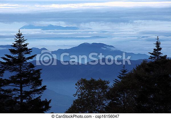 blue ridge mountains in morning - csp16156047