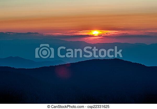 Blue Ridge Parkway Autumn Sunset over Appalachian Mountains  - csp22331625